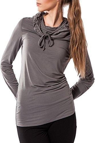 Fitness Frauen-Shirt, Hoodie Bhakti Sternitz, ideal für Pilates, Yoga und jeder Sportart, Bambusgewebe , ökologische und weich. Langer Hals. (Grau, Large)