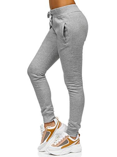 BOLF Damen Jogginghose Hose Yogahose Sport-Jogginghose Jogginghose Streifen Leggins Hose Workout Freizeit High Elastic Yoga Hosen Yoga Pants J.Style CK-01 Grau M [F6F]