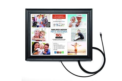 ClearStream View Wandrahmen Verstärkte HDTV-Antenne für den Innenbereich mit Collagematte, USB-Kabel und USB-Netzadapter