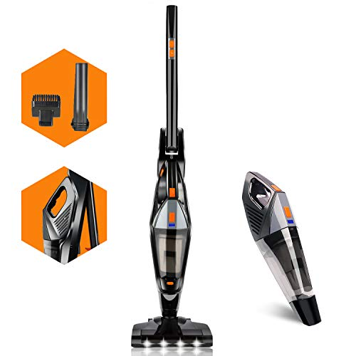 Hikeren Cordless Vacuum, Stick Vacuum Cleaner with 18kpa Powerful Suction, 35mins-Running Lithium-ion Battery, 2 in 1 Pro Lightweight Handheld Vacuum Cleaner for Home Hard Floor Car Pet Hair, Black