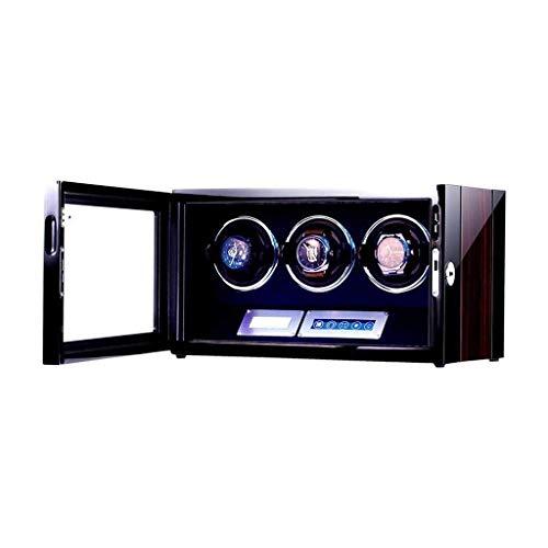 ZCYXQR Enrollador automático de Relojes, Caja para el hogar, para 3 muñecas Relojes de Madera a Prueba de Agua Caja de bobinado Rotación Ultra silenciosa por día, Tres Colores