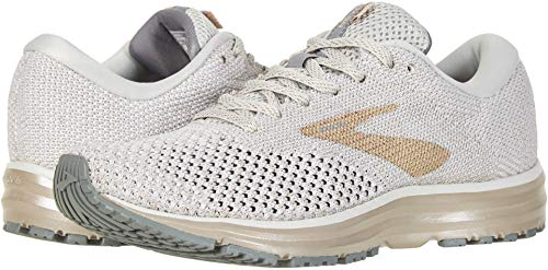 Brooks Womens Revel 2 Running Shoe (8, White/Champagne)