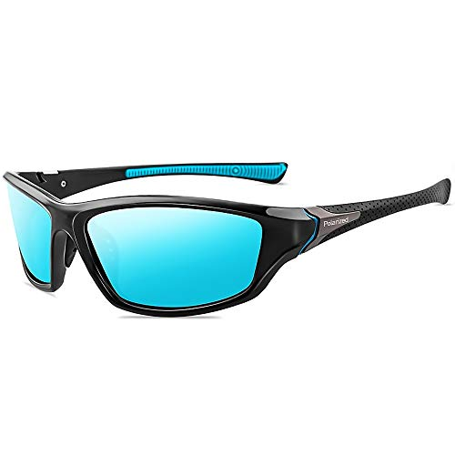 Grainas Polarisierte Sportbrille Sonnenbrille für Herren Damen Fahrerbrille Radsportbrillen zum Radfahren Skifahren Autofahren Fischen Laufen Wandern UV400 Schutz (Blau)