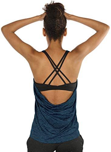 icyzone Damen Sport Yoga Top mit BH - 2 in 1 Fitness Shirt Cross Back BH Training Tanktop (L, Royal Blue)