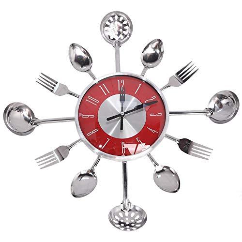 SODIAL Reloj de Pared Decorativo Cuchara de Metal Tenedor Reloj de Pared de Cocina Vajilla Dise?O Creativo DecoracióN del Hogar, Rojo