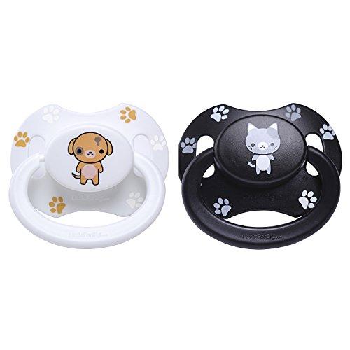 LittleForBig Bigshield Generation 2 Erwachsene Größe Schnuller Dummy für Erwachsene Baby ABDL-Schwarz Kätzchen und Weiß Welpe