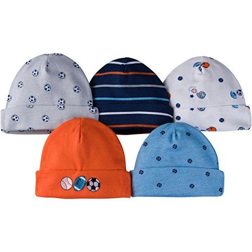 Gerber Baby Boys' 5-Pack Caps, Little Athlete, 0-6 Months