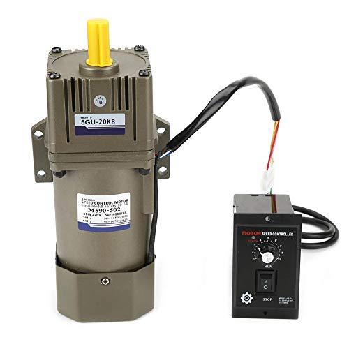 AC 220V 90W Motor mit einstellbarer Drehzahl Stufenlos regelbarer Frequenzumrichtermotor mit Getrieberegler und Halterung(20K)