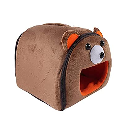 POPETPOP Guinea Pig House Bed-Cute Small Animal Pet Winter Warm Squirrel Hedgehog Syrian Hamster Chinchilla House Cage Nest Hamster Accessories-Brown Beer Small from POPETPOP