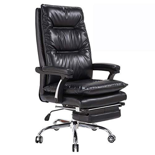 Comif- Chaise Boss en Cuir Artificiel de Haute qualité, Chaise de Bureau rembourrée d'épaisseur [avec Repose-Pieds Rabattable, réglage de la Hauteur de 10 cm, Rotation de 360 °] (Noir)