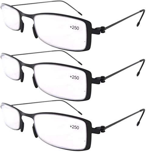 Eyekepper 3 Paia Occhiali da Lettura Montatura in Metallo Resistente per Uomo Donna Occhiali Presbite Acciaio Leggero Colore Nero Diottria +2.50