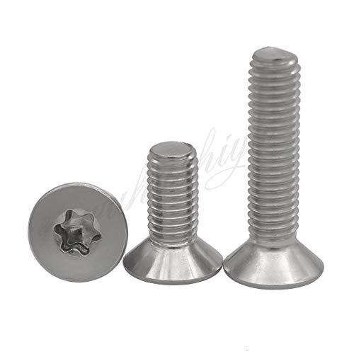 10/50 stks M1.6 M2 M2.5 M3 M4 M5 M6 M8 304 A2-70 roestvrij staal GB2673 Zeslobbige Torx Platte Verzonken Schroef Zeslobbout, 45 mm, M3 50 stuks