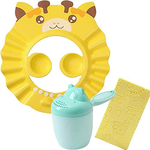 FSYIOU Gorro De Ducha Bebé, Ajustable Impermeable Champú Caps Shield, Protección para Niños Sombrero De Orejera para El Cuidado del Bebé para Niños Pequeños,Yellow