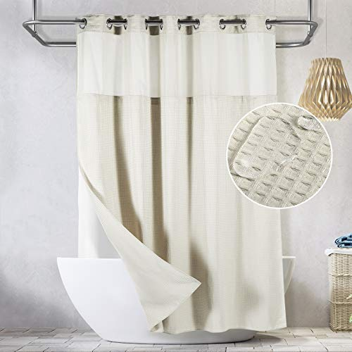 Lagute SnapHook Waffle Weave Fabric Hook Free Shower Curtain with Snap-in Liner, Heavy Duty Bath Curtain with See Through Top, Hotel Grade, Water Repellent, Machine Washable, 71Wx78L, Cream