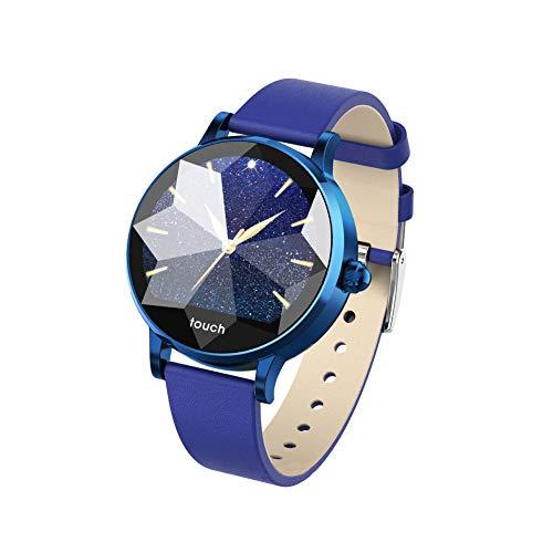 No/Brand Reloj inteligente para mujer con pantalla táctil redonda IP68, resistente al agua, elegante híbrido, reloj inteligente con analógico, aplicaciones deportivas y datos de salud (azul)