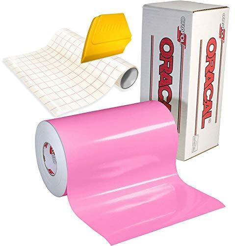 ORACAL 651 Vinyl-Klebefolie, 4,5 x 30,5 cm Rolle Transferpapier und hartem gelben Detailer-Rakel (zartrosa)