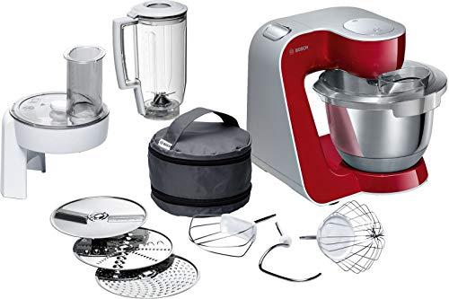 Bosch MUM5 CreationLine Küchenmaschine MUM58720, vielseitig einsetzbar, große Edelstahl-Schüssel (3,9l), Durchlaufschnitzler, 3 Scheiben, Mixer, 1000 W, rot/silber