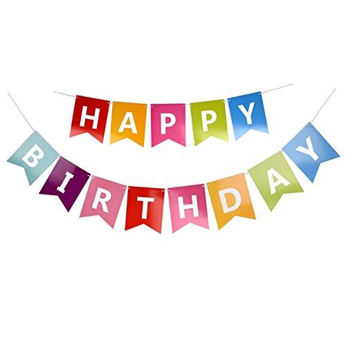 jijAcraft Happy Birthday Banner Girlande Geburtstag Bunt, für Geburtstagsfeier Dekorationen