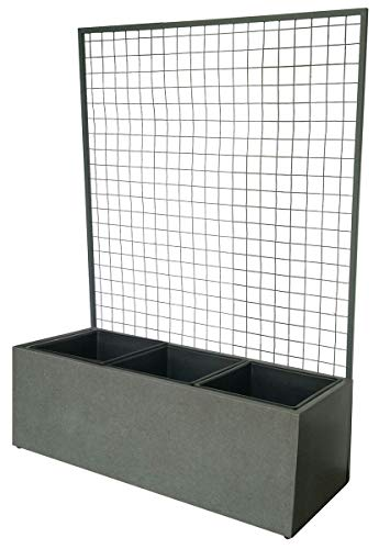 Dehner Pflanzkasten mit Spalier,ca. 101 x 141 x 36 cm, Leichtbeton/Stahl, grau