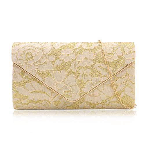 Milisente pochette da donna, in pizzo, pochette da sposa a tracolla, borsa da sera, Oro (Oro), Small