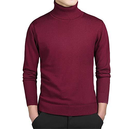 XGTsg Männer - Pullover, Rollkragen - Pullover, Gestrickte Pullover,Weinrot,XXXL