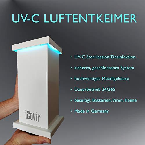 NEU - iCovir UV-C Luftreiniger beseitigt Aerosole Viren und Keime aus der Raumluft, UV Lampe zur Desinfektion, Air Purifier made in Germany, Ozon-frei im Dauerbetrieb sicher für Kinder und Haustiere