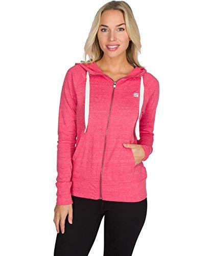 Dry Fit Sweatshirts for Women, Lightweight Zip Up Hoodie Sweater - Full Zip Hooded Jacket Deep Coral