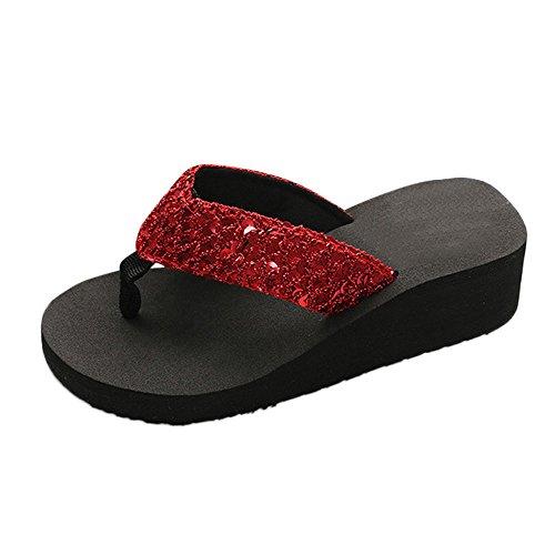 Sandalen Slipper Sommer Pailletten Damen Anti-Slip Indoor & Outdoor Flip-Flops (38,Rot)