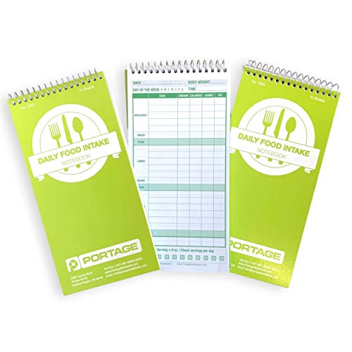 Food Journal, Notebook for Daily Food Intake – Food Log Notepad with Template to Track Calories, Food Diary, Meal Tracker & Calories for Common Foods – 4 x 8 Inches, 70 Sheets / 140 Pages (Pack of 3)