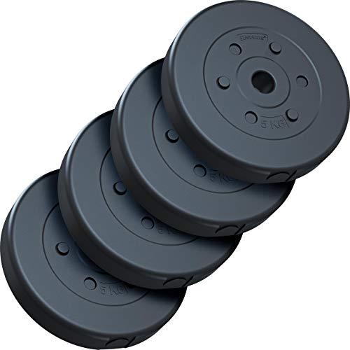 ScSPORTS® 20 kg Hantelscheiben-Set, Kunststoff, 4 x 5 kg Gewichte, 30/31 mm Bohrung, durch Intertek geprüft + bestanden(1)