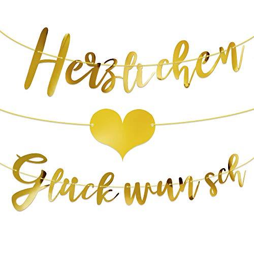 MEJOSER Herzlichen Glückwunsch Girlande Banner Deko Wimpel für Geburtstag Abi Abitur Abschluss Ausbildung Hochzeit Feier Jubiläum Rente Glückwunsch Deko auf Deutsch (Gold)