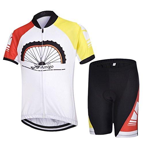 JT-Amigo - Set di Maglia Ciclismo per Bambino (Maglia Bici a manica corta + Pantaloncini con Imbottitura), Bianco 134/140 (Taglia Produttore: XL)