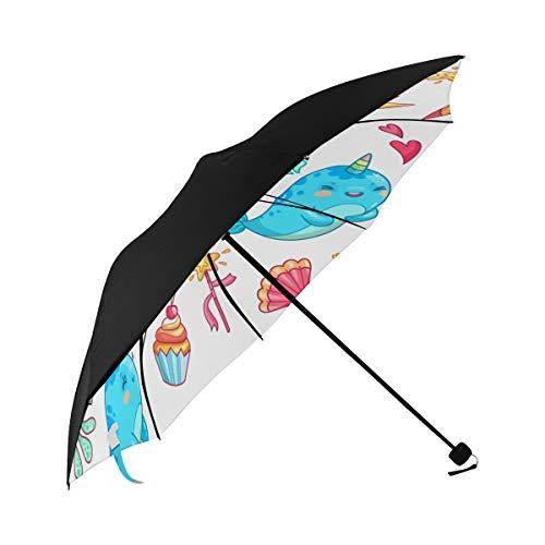Bay Narwhal Cartoon Animation Childlike Innocent Cute Compact Travel Umbrella Sun Parasol Anti Uv Foldable Umbrellas(underside Printing) As Best Present For Women Sun Uv Protection
