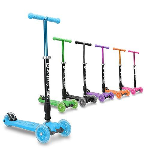 3StyleScooters® RGS-2 Patinete de Tres Ruedas para Niños Niños de 5 Años o Más con Luces LED en Las Ruedas, Diseño Plegable, Manillar Ajustable, Peso Ligero