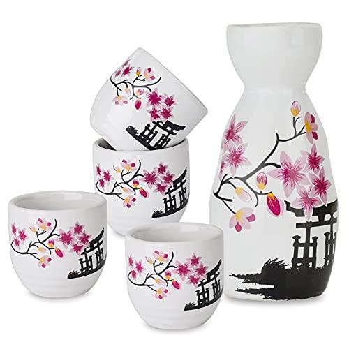 Panbado Juego de Sake de 5 Piezas de Gres, Conjunto Tradicional Japonés con 1 Botella de Sake y 4 Sake Cups de Cerámica, Estilo Japonés, Mejor Regalo de Cumpleaños, Navidad - Flor de Cerezo