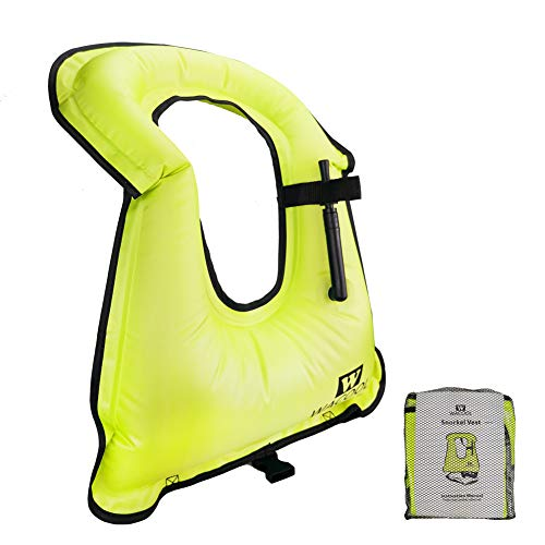 WACOOL Inflatable Snorkel Vest Safety Jacket Free Diving Portable Life Jacket for Swimming (Kids Neon Green)