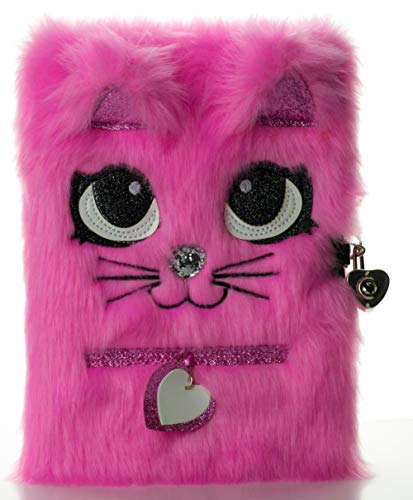 Busy Kid Plush Diary with Lock for Girls Glitter Kitty Notebook for Kids (Bright Pink)