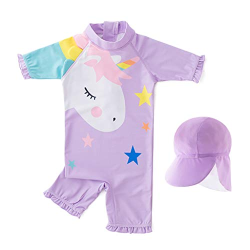 Kinderbadkleding meisjes UV-bescherming badpak Sunsuit zonwering alles in één badpak surfen duikpak zwempak zwempak met badmuts 3T / Für Höhe 75-85cm paars