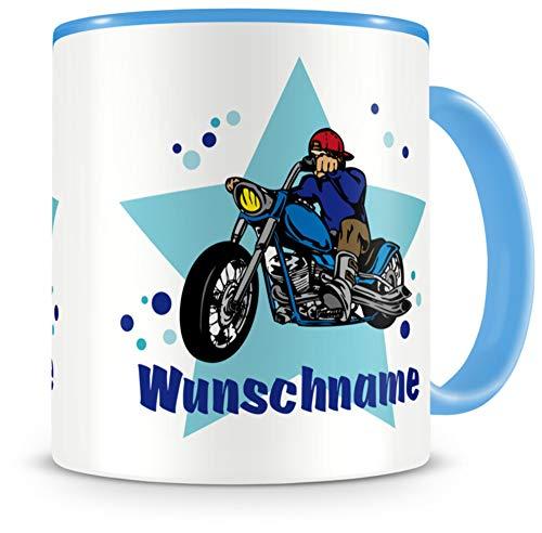 Samunshi® Kindertasse mit Namen Tasse Chopper Motorrad Personalisierte Tasse mit Namen Kinder Kinderbecher mit Namen Kindergarten blau 300ml