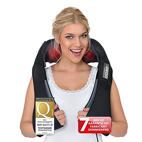 Masseur cervical DAS ORIGINAL de Donnerberg - Appareil de massage Shiatsu pour cou, épaules et dos - Têtes rotatives 4D, vibration et chaleur infrarouge - Détente totale + 7 ans de Garantie