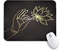 ROSECNY 可愛いマウスパッド ノートパソコン、マウスマット用のムードラゴールドノンスリップラバーバッキングマウスパッドの蓮の花を持っている主の手