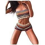 Traje de baño para mujer, conjunto de bikini de playa hecho a mano de crochet hecho a mano bohemio Conjunto de traje de baño Sujetador de baño multicolor S, traje de baño para mujer Control de barriga