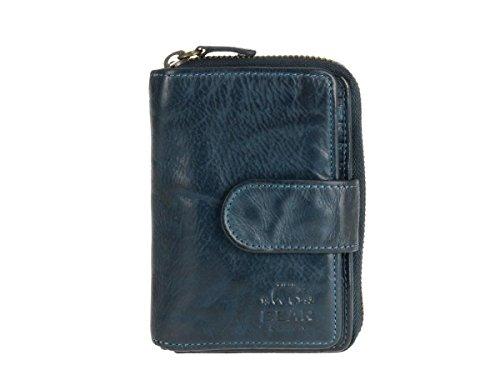 Bear Design Damen Geldbörse Leder Portemonnaie Geldbeutel 10 Kartenfächer blau