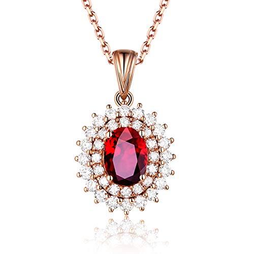 AueDsa Necklace Rosegold Halskette Damen Rotgold 18 Karat Oval mit Rubin 0.98ct