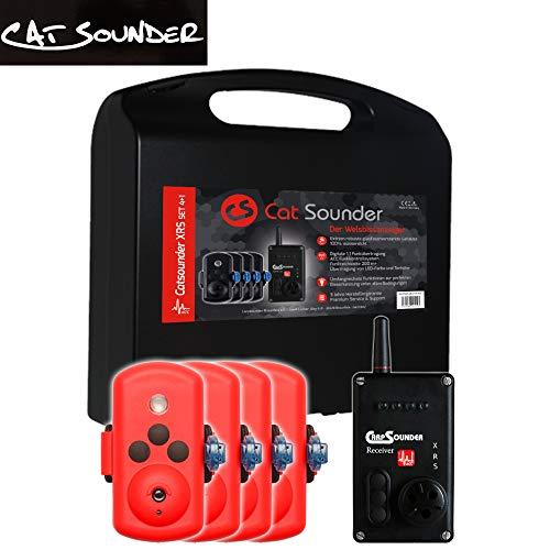Catsounder 4er Set XRS Acc - 4 Welsbissanzeiger + Receiver, Bissanzeiger zum Wallerfischen, Funkbissanzeiger für Wels