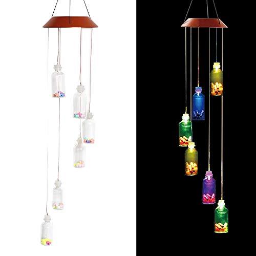 Lembeauty Solarbetriebenes LED-Windspiel, tragbar, farbwechselnde Spirale, Windspiel, Outdoor-Dekorative Windglocke für Garten, Terrasse, Deck, Hof.