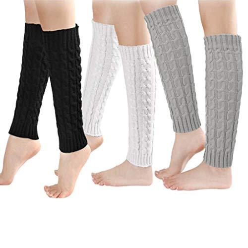Barry Madge interessant 3 paar Womens been Warmers winter warme zachte enkel knie Warmers haak kabel lange laarzen manchetten sokken