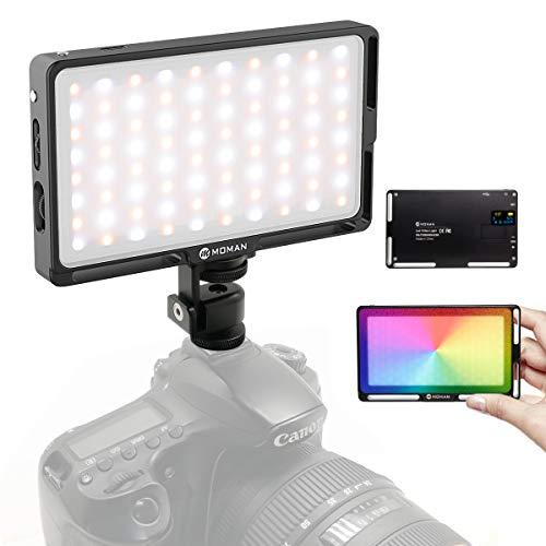 Moman LED Videoleuchte RGB, Dimmbare Videolicht 2500K-8500K Kamera Licht CRI96+/TLCI98+, Dauerlicht mit eingebautem Akku, Klein Tragbar Mini Aluminium Fotolampe für DSLR Camcorder Sony Canon Nikon