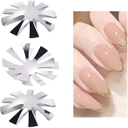 3 Pcs Nail Cutter Plate French Manicure Nail Art Making Clipper Plate Module,Stainless Steel V-Shaped Nail Art Manicure Edge Trimmer, Nagelkunst-Design Modell (3PCS Silber)