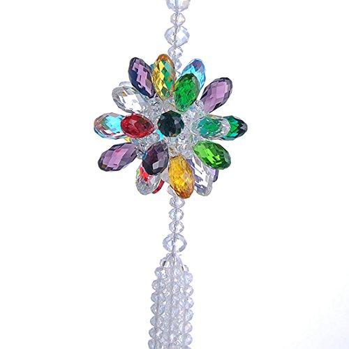 H & D Crystal Sun Flower Rückspiegel zum Aufhängen Zubehör Prismen Suncatcher, mehrfarbig, 1 Stpck